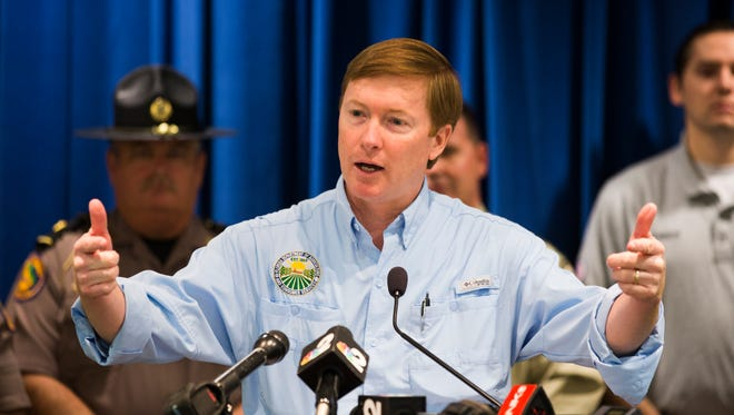 Commissioner of Agriculture Adam Putnam speaks during a news conference on Friday, March 10, 2017, about wildfires in Southwest Florida,