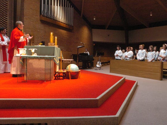 Mass at chapel of Mary Help of Christians  School pictured