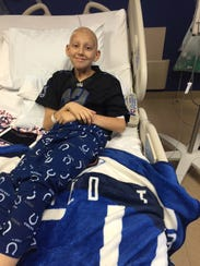 Carson Collins, 12, Brownsburg, in the Peyton Manning