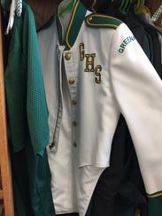 A band uniform from past Greenfield High School bands
