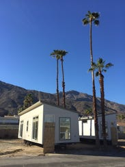A new manufactured home arrives at Palm Springs' Palm