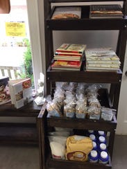 Italian dry goods including biscotti are on display