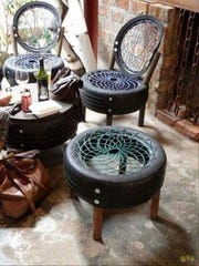 Repurpose used tires into patio sets. Find other ideas for repurposing tires at Pinterest.com/BayouVermilion.