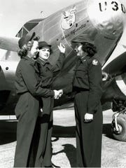 Left to right, WASPs Sarah E. Payne, Mittie E. Parsley and Jacqueline F. Riley (all 44-W-10) at Avenger Field, Sweetwater, Texas, in 1944.