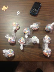 10 baggies of ecstasy pills and other drugs seized in a vehicle search Friday in DeSoto Parish.