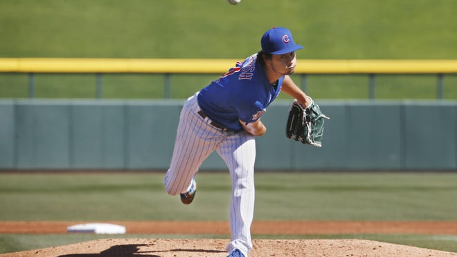 Chicago Cubs pitcher Yu Darvish throws in a simulated game at spring training in Sloan Park on Friday, March 6, in Mesa, Ariz.