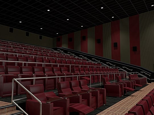 A rendering of the stadium seating planned for the Galaxy luxury theater at Victorian Square Cinema.