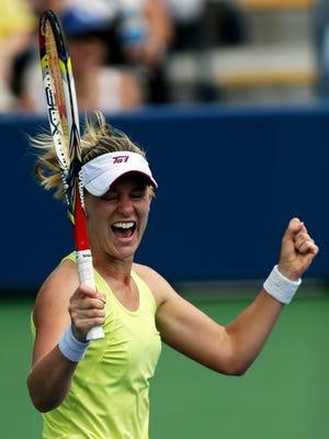 Alison Riske of the USA celebrates after defeating Petra Kvitova of the Czech Republic.