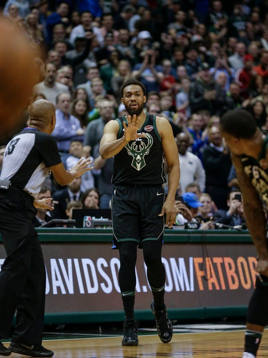 Milwaukee Bucks' Jabari Parker enters the game, making his season debut after a knee injury last year, during the first half of the team's NBA basketball game against the New York Knicks on Friday, Feb. 2, 2018, in Milwaukee. (AP Photo/Tom Lynn)