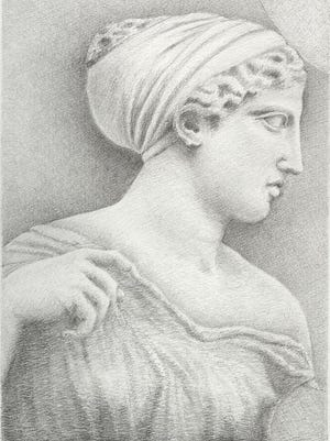 """""""Parthenon East Frieze: Detail of Artemis, from Block 6"""" is by Katherine A. Schwab, a featured speaker in Willamette University's lecture series, """"Taking the Long View: Art and Cultural Heritage in an Age of Terror."""""""
