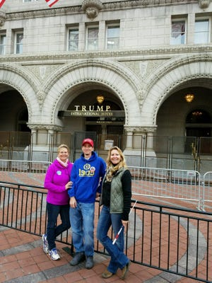 Fort Myers resident Rene Younger poses in front of the Trump International Hotel in Washington, D.C., following his inauguration as 45th President of the United States. Next to Younger are Chris Williams and Jaclyn Trusal.