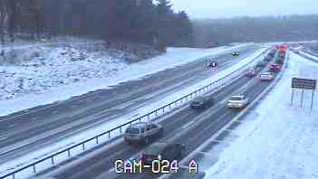 Snow blanketed the Taconic State Parkway at Route 6 in Yorktown during an earlier storm, Jan. 14.