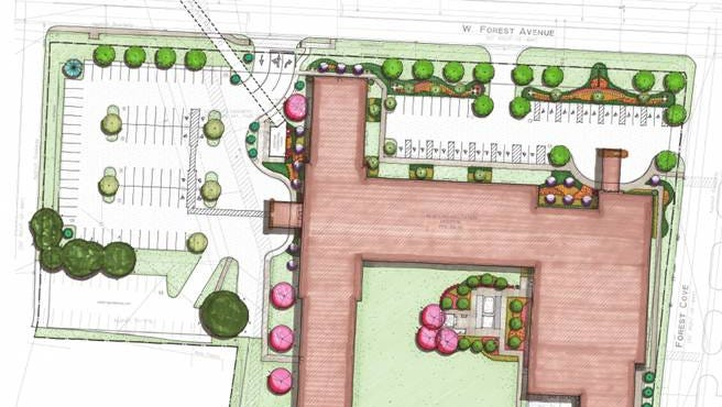A site plan for the West Tennessee Rehabilitation Hospital, which will be built at 616 W. Forest Ave.