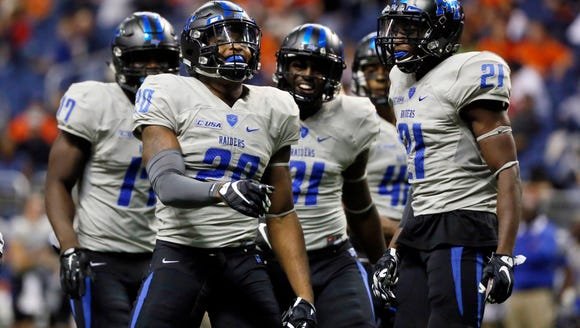 Middle Tennessee won't have Kevin Byard (20), who is