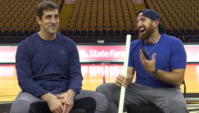 Aaron Rodgers sits down for an interview during his trick shot session with Dude Perfect.