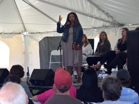Tameka Bradley Hobbs speaks Saturday at Word of South
