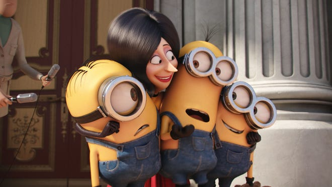 Scarlet Overkill (voiced by Sandra Bullock) hires Stuart, Kevin and Bob as her new henchmen in 'Minions.'