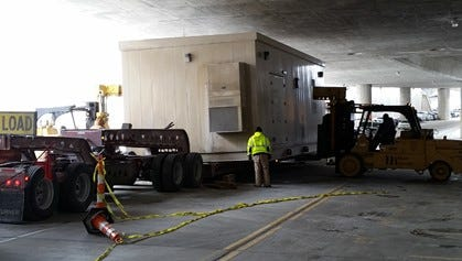 The final of four streetcar substations was delivered last week to a streetcar facility.