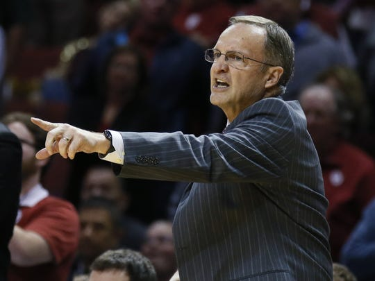 FILE - In this Monday, Jan. 30, 2017 file photo, Oklahoma head coach Lon Kruger gestures during an NCAA college basketball game between Oklahoma State and Oklahoma in Norman, Okla. Oklahoma coach Lon Kruger said it's fair to expect a lot from Trae Young, a preseason All-Big 12 honorable mention choice before ever playing for the Sooners.
