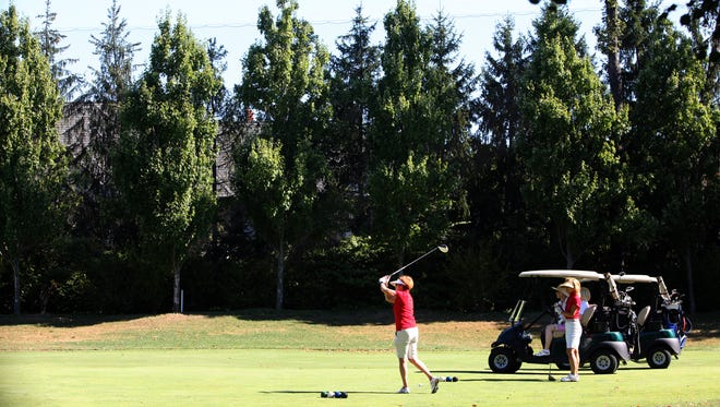 A net is visible above the trees on the second hole at the Quaker Ridge Golf Club. The club and the Behar family spent hundreds of thousands of dollars to reduce the amount of balls being sent into the residential property.