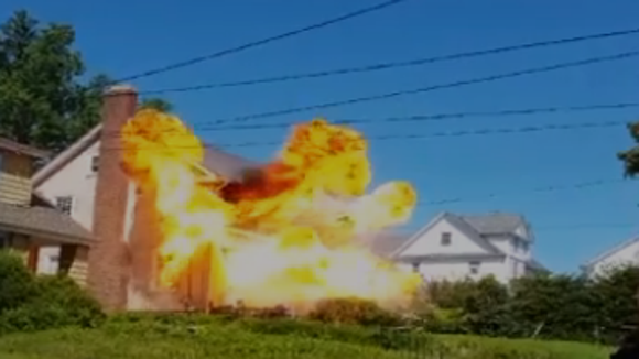 """A TV crew """"blows up"""" a house in White Plains for NBC's """"Blindspot."""""""