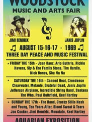 A 1969 posted for the Aug. 15-17 Woodstock Music and