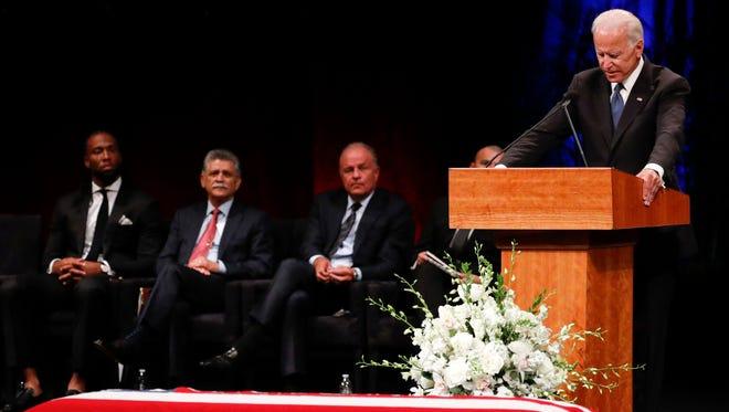Former Vice President Joe Biden gives a tribute during memorial service at North Phoenix Baptist Church for Sen. John McCain, R-Ariz,. on Thursday, Aug. 30, 2018, in Phoenix.