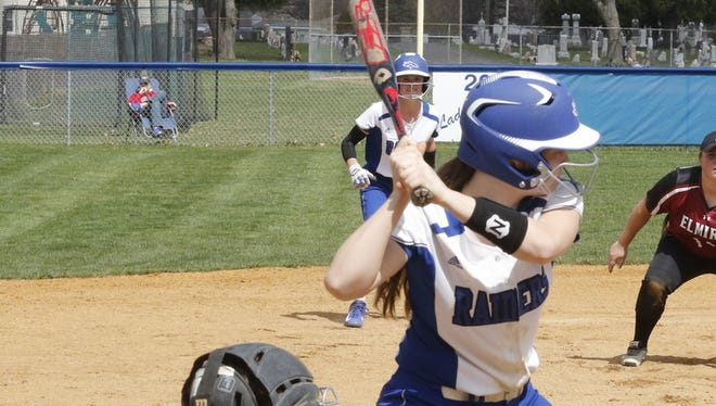 Jill Murray hits for Horseheads in a win over Elmira earlier this season at Broad Street field.