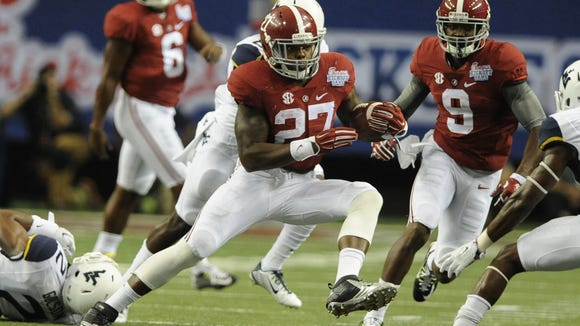 Mickey Welsh/Advertiser Derrick Henry rushed for 113 yards on 17 carries Saturday, including a 19-yard touchdown run. Alabama running back Derrick Henry (27) finds running room against West Virginia in the Chick-fil-A Kickoff Game at the Georgia Dome in Atlanta, Ga. on Saturday August 30, 2014.