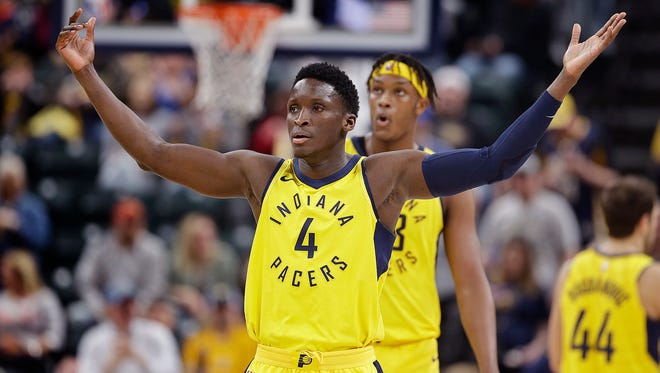 Indiana Pacers guard Victor Oladipo (4) celebrates a turnover and basket against the LA Clippers in the second half of their game at Bankers Life Fieldhouse on Friday, March 23, 2018. The Indiana Pacers defeated the LA Clippers 109-104.