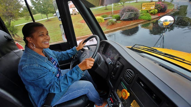 Donna Gaston preps her bus for students outside Jefferson Elementary School in this file photo.