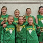 The Lil' Rustlers went 5-0 to take 1st place in the Western Classic 6th Grade Girls' Division.  Pictured in Back Row L to R:  Amiya Williams, Whitley Harrison, Lily Rust, and Allie Olsen.  Front Row L to R:  Grace Carr, Tess Halverson, and Emily Funseth.  The team is coached by Paula Olsen and Brian Halverson.  Team Sponsors are Tilleraas Landscaping and Uptown Optimists.