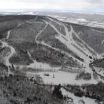 This aerial view of Catamount shows there is still snow on the slopes for skiing.