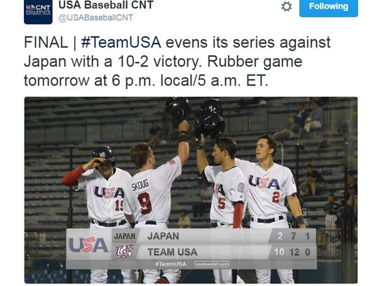 Jake Burger, left, hit .353 to lead the U.S. team in