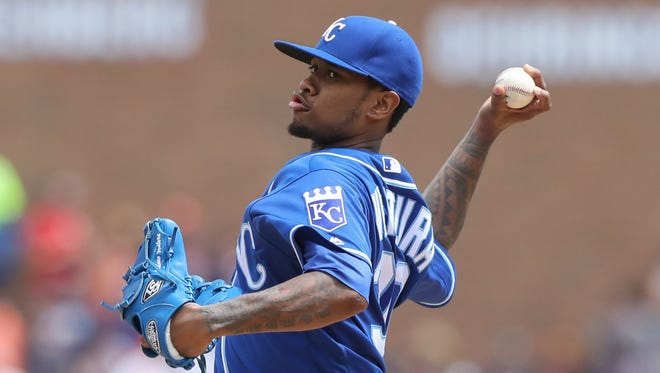 Kansas City Royals Yordano Ventura pitches against the Detroit Tigers during seventh inning action Sunday, July 17, 2016 at Comerica Park in Detroit MI.