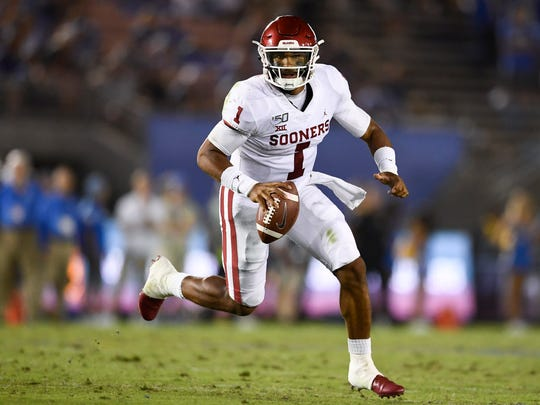 Sep 14, 2019; Pasadena, CA, USA; Oklahoma Sooners quarterback Jalen Hurts (1) in action during the second half against the UCLA Bruins at Rose Bowl. Mandatory Credit: Kelvin Kuo-USA TODAY Sports