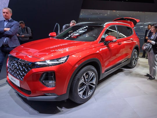 The New Hyundai Santa Fe is presented during the press