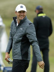 Jordan Spieth of the United States gets ready to practice at the driving range ahead of the start of the British Open golf championships at Royal Portrush in Northern Ireland, Wednesday, July 17, 2019. The British Open starts Thursday. (AP Photo/Matt Dunham)