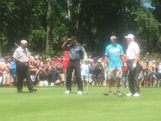(From left to right) Lee Trevino, Derek Jeter, Brett