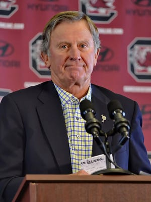 Steve Spurrier takes questions from the media during a news conference held to announce his resignation as the South Carolina head football coach Oct. 13, 2015, at the University Of South Carolina, in Columbia, S.C.  (AP Photo/Richard Shiro)