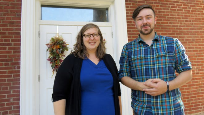 The Rev. Sarah Varnell, left, and Lester Finuf stand outside St. Paul United Methodist Church in Fountain City. The church is holding an Election Eve communion service at 7 p.m. Monday