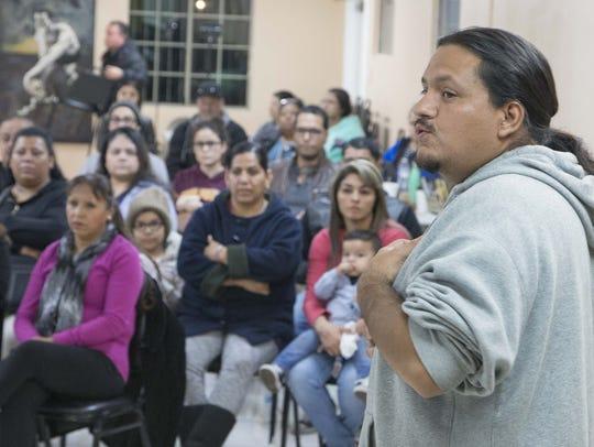 Carlos Garcia of Puente Arizona talks on Jan. 25, 2017,