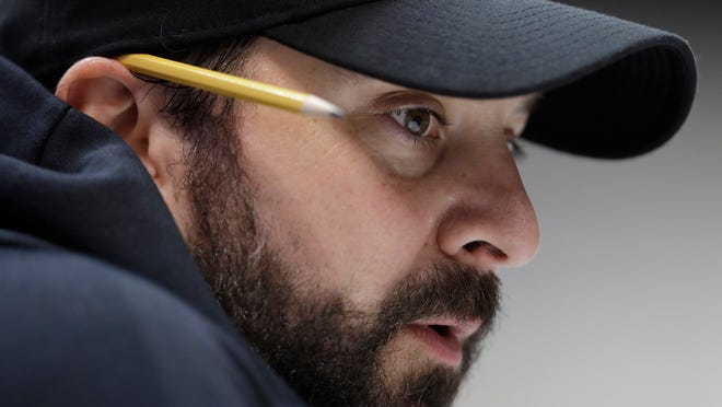 Detroit Lions coach Matt Patricia speaks during a press conference at the NFL scouting combine, Feb. 28, 2018, in Indianapolis.