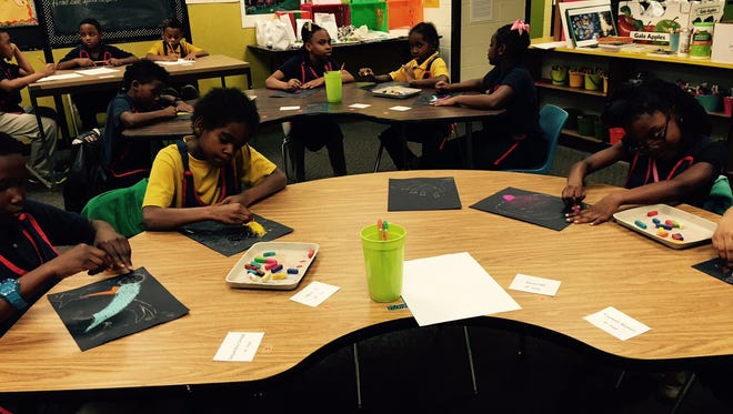 Third-graders from Wares Ferry Road Elementary School participate in art-making activities at the Montgomery Museum of Fine Arts. Students' artworks will be featured during the museum's Art Museum Day celebrations on May 22.