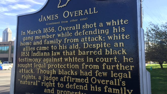 Historical marker at Indiana Avenue and West Street commemorates James Overall.
