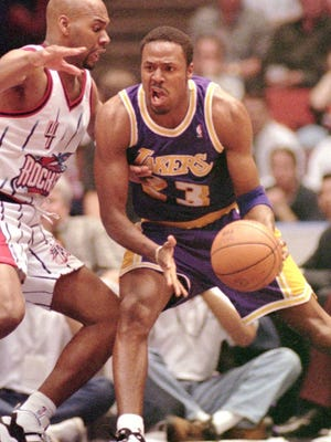 After helping the Ventura College men's basketball title win the state title in 1987, Cedric Ceballos, right, played 14 seasons in the NBA, including a three-year stint with the Lakers. The VC team is holding a reunion Saturday.