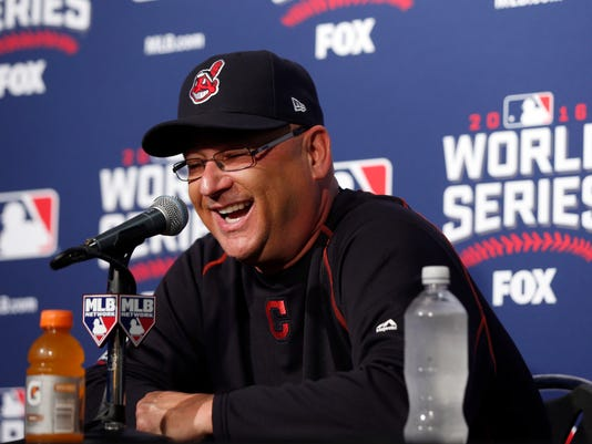 Cleveland Indians manager Terry Francona laughs during a news conference before Game 4 of the Major League Baseball World Series against the Chicago Cubs, Saturday, Oct. 29, 2016, in Chicago. (AP Photo/Charles Rex Arbogast)