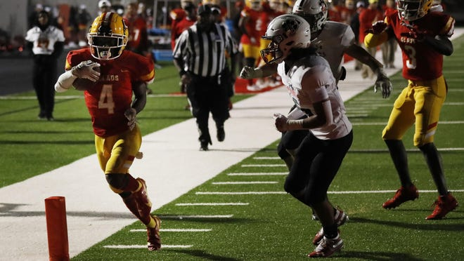 Clarke Central's Antonio Jewell  (4) drives in for a touchdown during an GHSA high school football game between Clarke Central and Jackson County in Athens, Ga., on Friday Oct. 9, 2020. Clarke Central won 38-10.