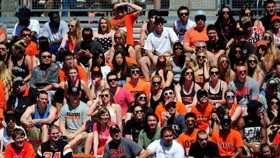 Fans at Reser Stadium for the spring game.