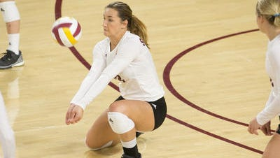 Macey Gardner, out for the season with a knee injury, finishes her ASU career with a school best 1,882 kills and 1,093 digs.